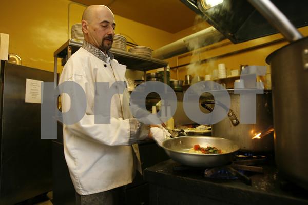 Chef Vito Fontana prepares the Tortellini Espresso at Espresso Restaurant in Gloucester. Photo by Kate Glass