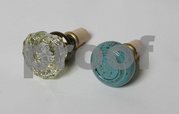 Re-use and recycle with these vintage knobstoppers wine bottle toppers<br /> Glass: $37<br /> Metal: $33