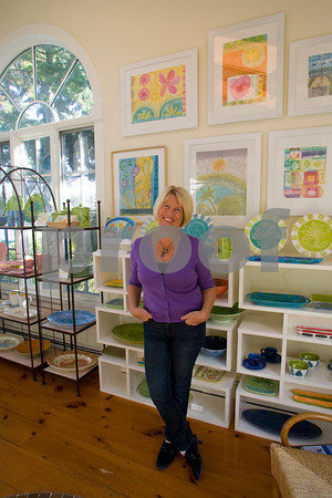 Sigrid Olsen stands in her studio on Rocky Neck.  Photo by Mary Muckenhoupt