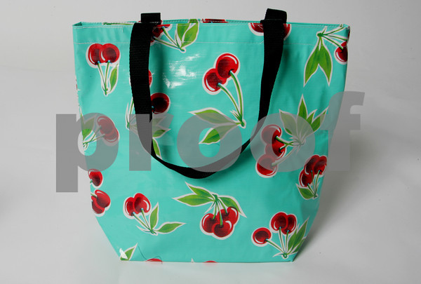 Pretty, please with cherries on top? Or in this case on a  Modern durable totebag. Oilcloth wipes off and stays soft, Sandcastles, $20.