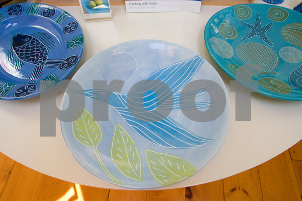 Hand painted ceramics by Sigrid Olsen.  Olsen a graduate of Montserrat College of Art has a studio on Rocky Neck. Photo by Mary Muckenhoupt