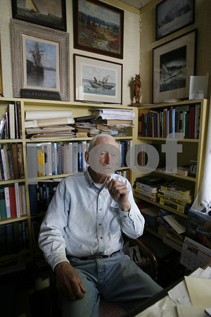 Gloucester author Joe Garland  at their home on Eastern Point.