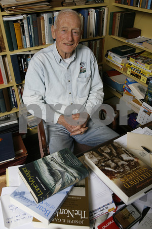 Gloucester author Joe Garland in his study.<br /> Photo by Kate Glass