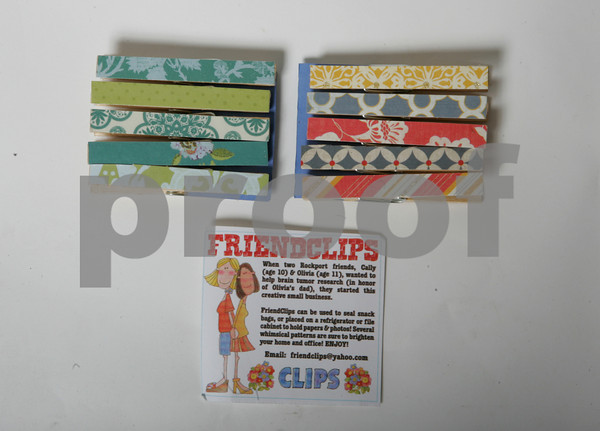 FRIENDCLIPS. Two friends Olivia and Cally started this small business to help raise money for brain tumor research after Olivia's father passed away from a brain tumor.<br /> Magnetic clips and snack clips $5