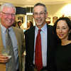 Gloucester:  Michele May, right, David Walt, Wally Hess <br /> attend the annual Raising the Roof to benefit Rockport Music and held at the Bass Rocks Golf Club.<br /> Photo Silvie Lockerova