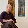 Leslie D. Bartlett sits in his Gloucester studio. Bartlett photographs quarrys on Cape Ann and in Vermont and makes large scale prints.<br /> Photo by Mary Muckenhoupt.