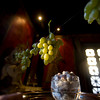 "Sugared Grapes hang in the kitchen of ""Solitude"" with sugared cranberries which underneath.<br /> Photo by Amy Sweeney."