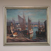 Harbor scene by Emile Gruppe hanging in BankGloucester. The bank purchased the Gruppe paintings in the 1970's.
