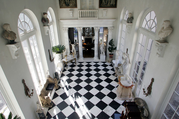 The centerpiece of Alexander Westerhoff and Tom Lane's home is the loggia, which has an array of spectacular sculptures and antiques. The room  is modeled after the great open porticos in Europe.<br /> Photo by Mary Muckenhoupt.