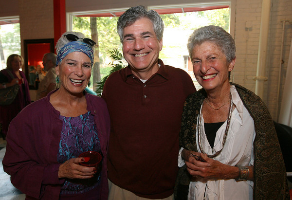 Gloucester: Susan Fray, Andrew Burgreen, General Manager, and Mary Ann Wenniger attend Gloucester Stage Company's end of season party. Photo by Kate Glass/Cape Ann Magazine