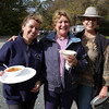 From left, Cindy Foote, of West Newbury, Kim Hackett, of Salisbury, and Edie McKinnon from Merrimac, enjoy lunch following a charity ride for Windrush Farm Theraputic Riding School at Bradley Palmer Park. David Le/Cape Ann Magazine