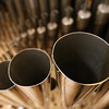 ALLEGRA BOVERMAN/Staff photo. Cambridge: Detail of pipes inside the newly installed pipe organ by C.B. Fisk at Memorial Church at Harvard University.