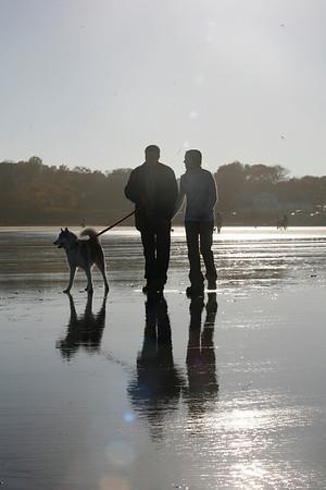 Gloucester: Joel D'Ambrosio and Taylor Dougwillow walk Jenna, an Alaskan Husky on Good Harbor Beach. Staff photo/Amy Sweeney.