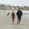 Gloucester: Tom Balf and his daughter Rosalee Heaney-Balf, 11, walk their dogs Tucker and Zeebee, right, on Good Harbor Beach.  Mary Muckenhoupt/Gloucester Daily Times.