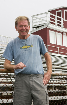 GFAA co-president Dick Wilson hopes the First Run Gloucester will be a funding boost for restoring Newell Stadium. Photo by Mary Muckenhoupt