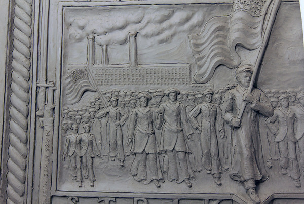 Photo by Allegra Boverman. Gloucester: Sculptor Daniel Altshuler of Gloucester is working on two bronze plaques that will commemorate the Bread and Roses Strike of 1912 and be placed in Lawrence's Campagnone Common a few hundred feet west of City Hall.