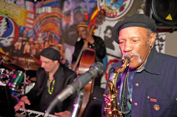 Gloucester:  Grammy winner saxophonist Charles Neville along with Henri Smith's New Orleans style band played at a Mardi Gras fundraiser party at Minglewood Tavern/Latitude 43, of which some proceeds will benefit a group of Cape Ann students who will travel to New Orleans to help rebuild the city ravaged by Katrina   Desi Smith/ Gloucester Daily Times. February 21,2012.