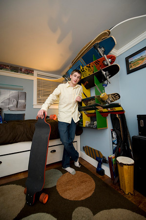 Cayden Grooms in his bedroom, which has an elevated train track. So the toy train operator could just lay in bed and use the remote control and watch the train travel around the room.<br /> <br /> Photo by Desi Smith<br /> Eddie and Carla Grooms<br /> Address:  16 Stockholm Avenue, Rockport<br /> Photo by Desi Smith