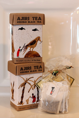 Ajiri black tea, from a tea collaborative in Kenya with handmade<br /> packaging. 16 bags for $9.95. Lulu's Pantry.