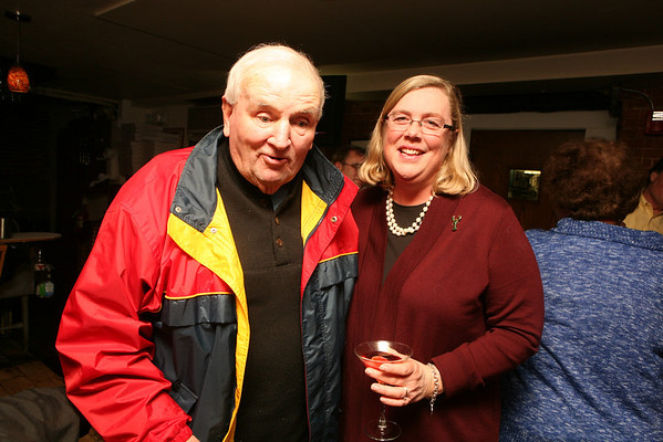 Former City Councilor Gus Foote with Mayor Carolyn Kirk at her 50th birthday party held at Giuseppe's Ristorante December 21, 2011.<br /> Photo by Amy Sweeney.