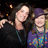 Gloucester:   Laurie Lynn of Burlington and Julie Cleavland of Gloucester at the Mardi Gras fundraiser party at Minglewood Tavern/Latitude 43.  Desi Smith/ Gloucester Daily Times. February 21,2012.