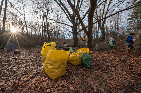 Desi Smith/Staff photo. The sun rises over bags of trash collected in 20 minutes at a party spot in the woods near the Gloucester compost yard on Dogtown Road off Cherry Street. The One Hour at a Time Gang, led by Donna Ardizzoni, far right, Amy Kerr, Ward 2 Councilor Melissa Cox and husband Bill were among the volunteers picking up on a cold November Saturday morning.