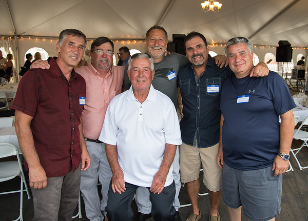 """Desi Smith Photo.    From left to right Gloucester fishermen, Joe Randazzo,Mark Ring, John Sanfilippo,Vince Taormina, Al Cottone and Joe Orlando all attended the """"Sea to Supper"""" community dinner to benefit the Gloucester Fishermen's Wives Association held on August 25,2016 at the Waterfront Pavilion Tent at Mile Marker One Restaurant and Bar."""