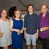 "Desi Smith Photo.    From left to right, Lesley Davison of Gloucester, Shannon Gemma of Peabody, Alec Daniels of Colorado and Henry Allen of Gloucester,attended the ""Sea to Supper"" community dinner to benefit the Gloucester Fishermen's Wives Association held on August 25,2016 at the Waterfront Pavilion Tent at Mile Marker One Restaurant and Bar."