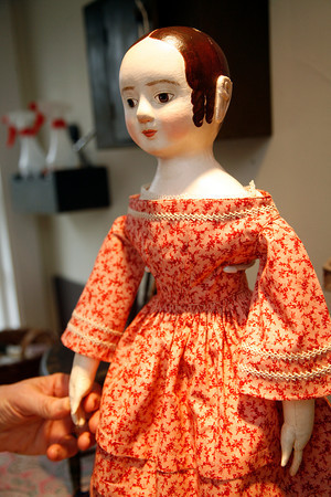 Allegra Boverman/Cape Ann Magazine. Peggy Flavin of Annisquam recreates dolls from the past. This is Lucy.