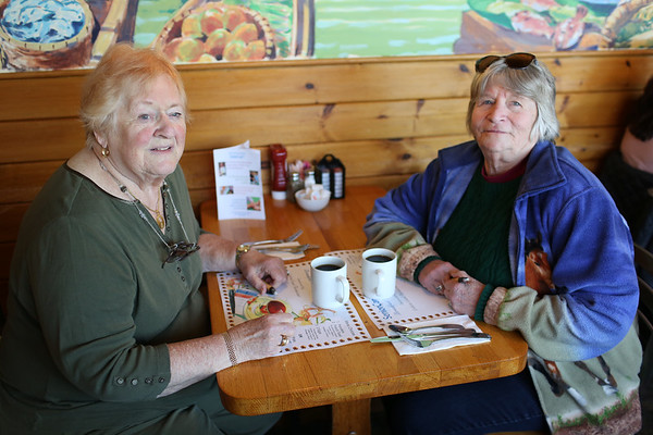 HADLEY GREEN/ Staff photo Peg Gauthier, left, and Diana Lang, both of Wenham, attend SeniorCare's annual autumn fundraising breakfast at Lobsta Land Restaurant in Gloucester.     10/16/2018