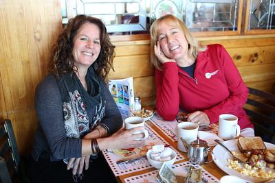 HADLEY GREEN/ Staff photo  Lauren Gray, left, of Boxford and Liz Auwerda of Rowley attend SeniorCare's annual autumn fundraising breakfast at Lobsta Land Restaurant in Gloucester.     10/16/2018