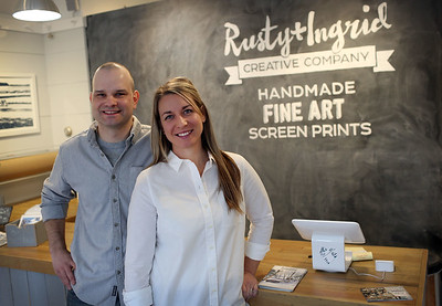 HADLEY GREEN/Staff photo Rusty and Ingrid Kinnunen stand in their store and studio in Rockport.  01/27/18