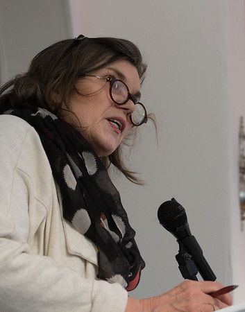 Desi Smith Photo.     M J Boylan reads at the Writers Resist: Don't Tread On Us to a full house at the Rocky Neck Cultural Center Sunday afternoon. Readings by local authors and others from the arts community, reaffirm commitment to the First Amendment and the freedoms of Democracy.     January 15,2017