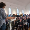 Desi Smith Photo.  Charlotte Gordon reads at the Writers Resist: Don't Tread On Us to a full house at the Rocky Neck Cultural Center Sunday afternoon. Readings by local authors and others from the arts community, reaffirm commitment to the First Amendment and the freedoms of Democracy.     January 15,2017