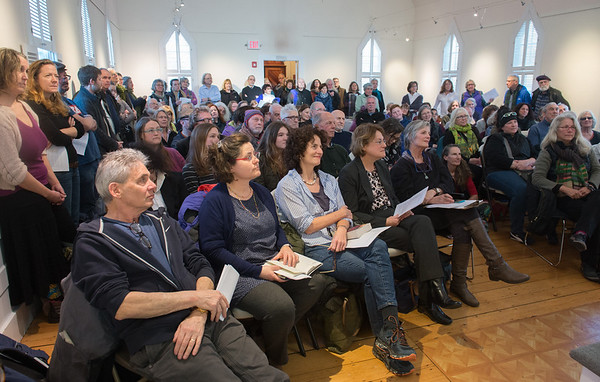 Desi Smith Photo.      Visitors packed the Rocky Neck Cultural Center Sunday afternoon to listen to readings by local authors and others from the arts community to reaffirm commitment to the First Amendment and the freedoms of Democracy at the      January 15,2017  Rocky Neck Cultural Center,Writers Resist   Desi Smith Photo/Gloucester Daily Times