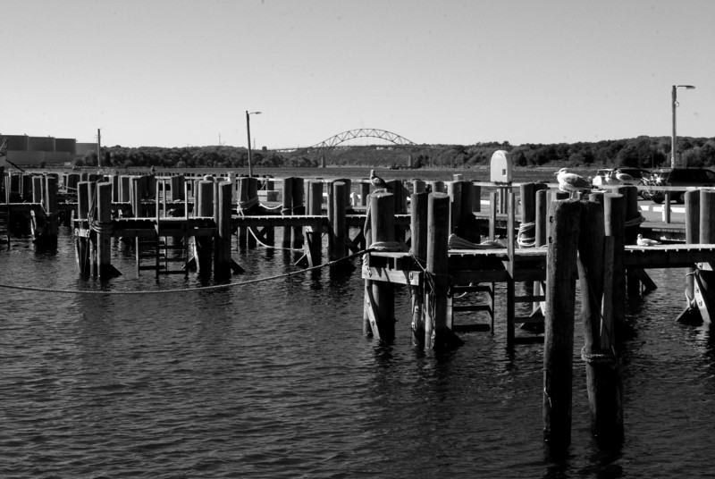 The docks with Sagamore Bridge in the background