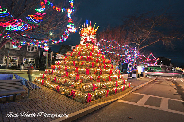 The Provincetown lobster trap Christmas tree. The odd shaped color designs you see you see on the foreground and background trees is caused by the long exposure I used.