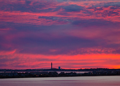 fuschia sunset over East Harbor & Ptown