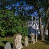 five heterogeneous gravestones behind First Congregational Church Truro
