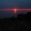 dark grass peach sunset slate sky