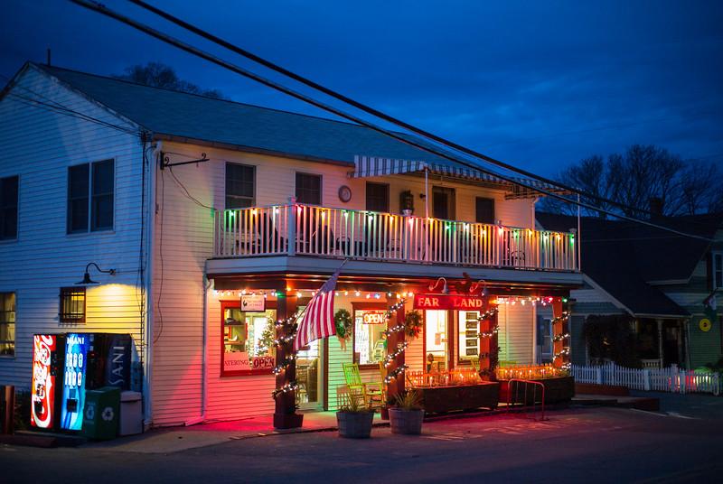 Far Land store December twilight