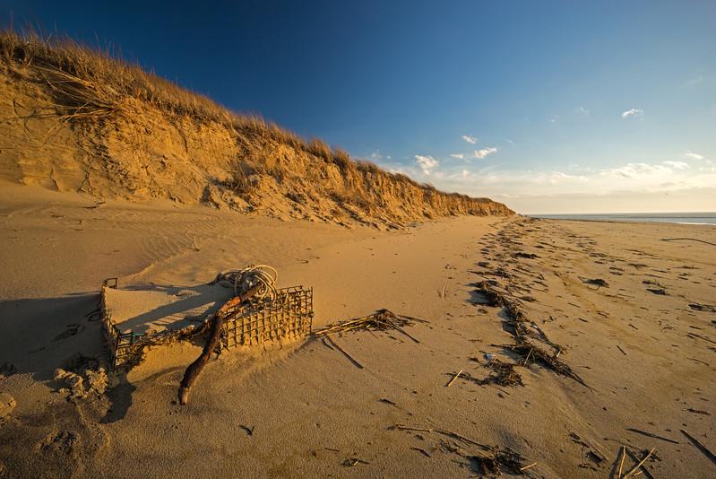 buried lobster trap The Gut beach Wellfleet