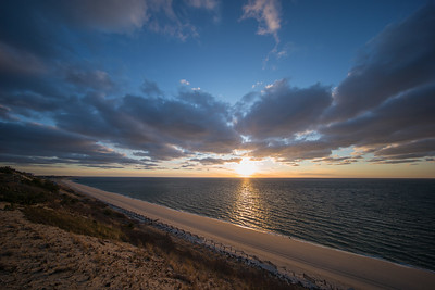blue and gold sunset Cape Cod Bay