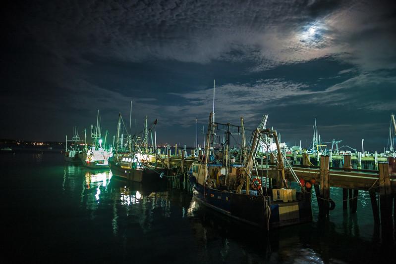 fishing boats in the moonlight MacMillan Wharf