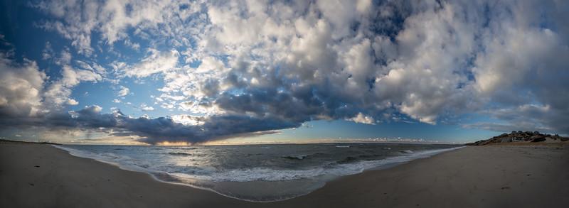winter storm Corn Hill Beach panorama