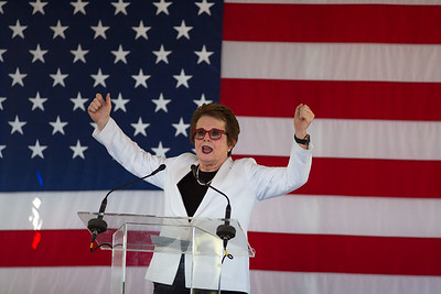 Billie Jean King at Hillary Clinton rally Provincetown 2016