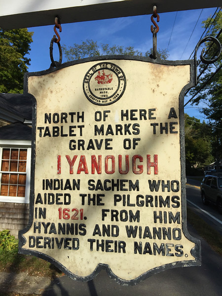 marker of grave of Iyanough Native American sachem from 1621