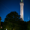 Pilgrim Monument at night from Ryder St