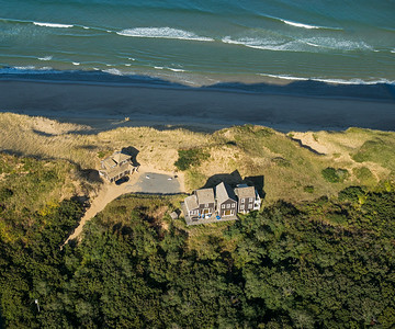 aerial view house on cliff
