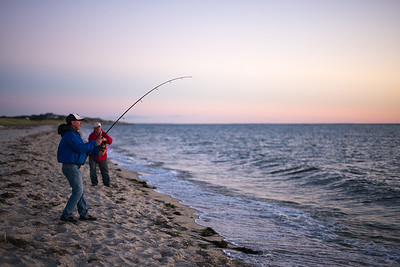catching stripers Corn Hill Beach dusk